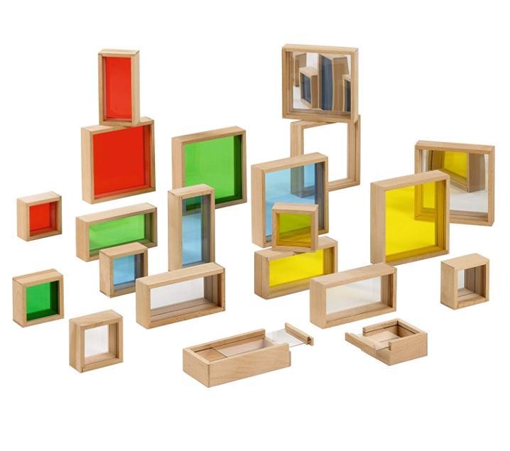 Blocs de construccions translúcids, amb mirall i emplenables