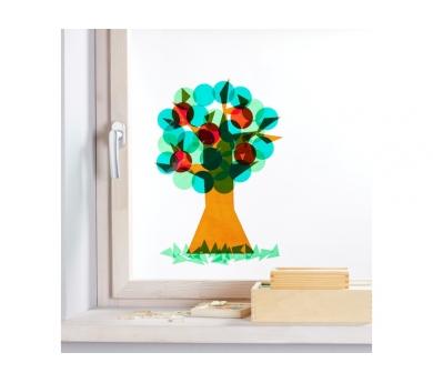 Fröbel. Árbol adhesivo de ventana para las estaciones del año