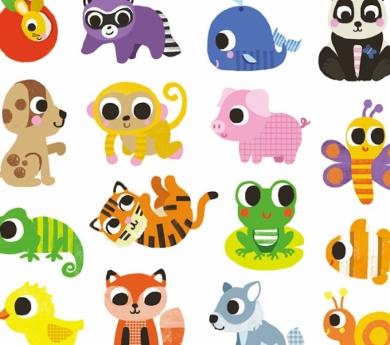 120  pegatinas animales bebés