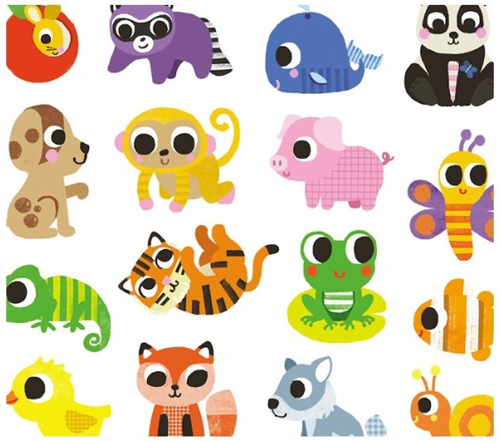 120 pegatines d'animals nadons