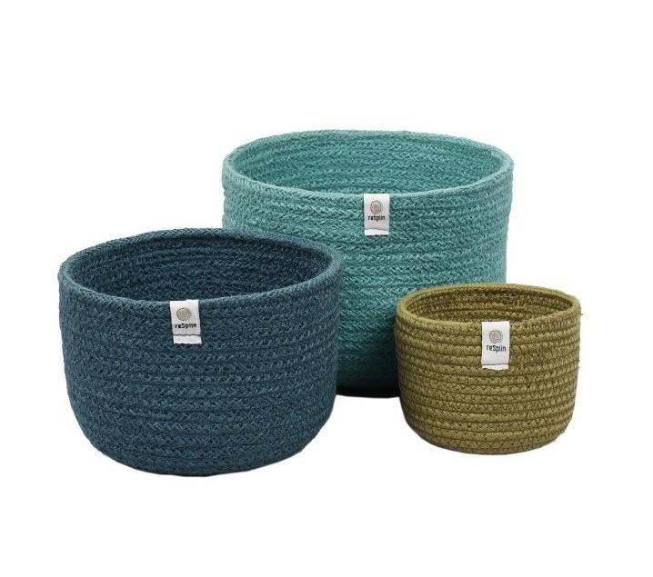 Conjunto de 3 cestos de yute altos Blue