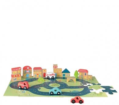 Puzle carretera amb vehicles i blocs de poblat