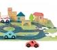 Puzle carretera con vehículos y bloques poblado