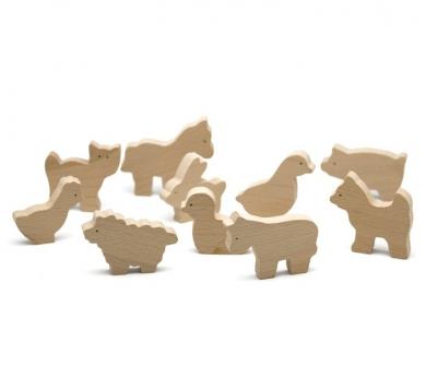 Animales de madera natural