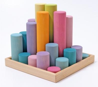 Grimm's. Cilindros de construcción en madera, colores pastel