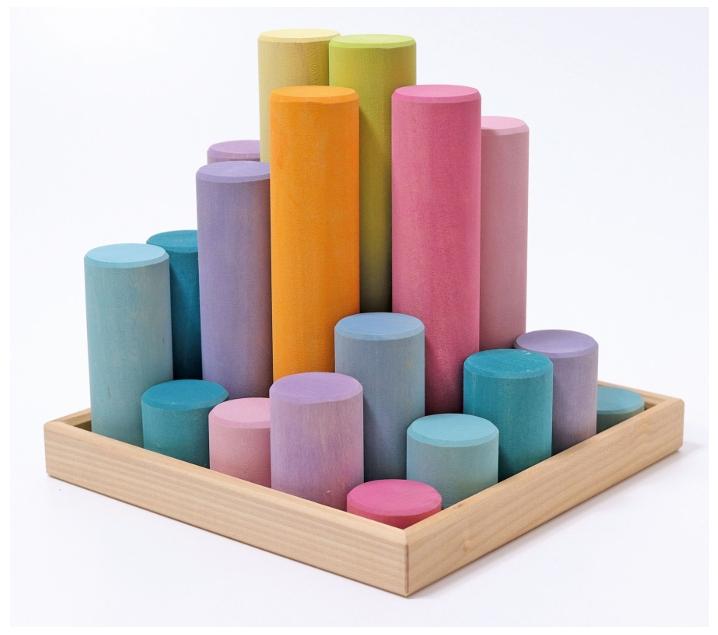 Grimm 's. Cilindres de construcció en fusta, colors pastís