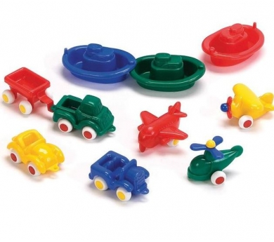 Pack de 10 vehículos de plástico ultra resistente