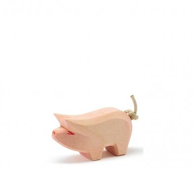 Figura de madera Ostheimer - Cerdo pequeño con cabeza levantada