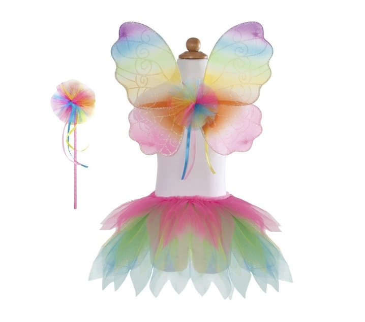 Disfraz de hada arcoiris con tutú, varita y alas