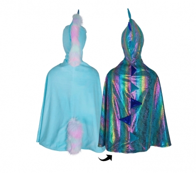 Disfraz de capa reversible dragón/unicornio