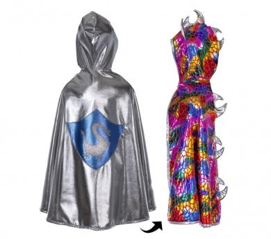 Disfraz de capa reversible dragón multicolor/caballero/a