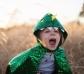 Disfraz de capa dragón verde metalizado