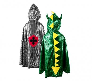 Disfraz de capa reversible dragón/caballero/a