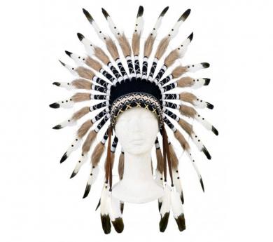 Penacho de indio/a Ithua blanco y negro ajustable