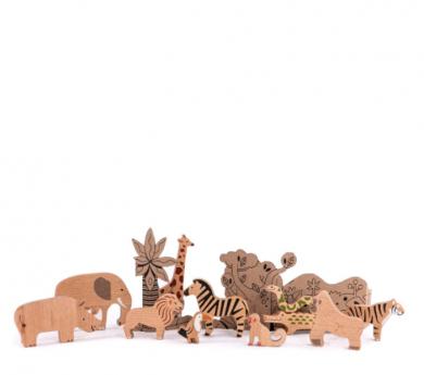 Set de animales de la jungla y la sabana de madera