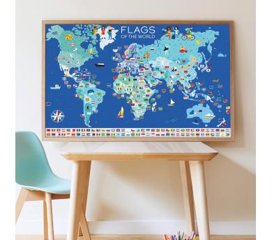Banderes de món, gran pòster amb 200 adhesius
