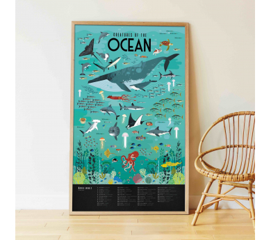 Animales marinos, gran poster con 59 pegatinas
