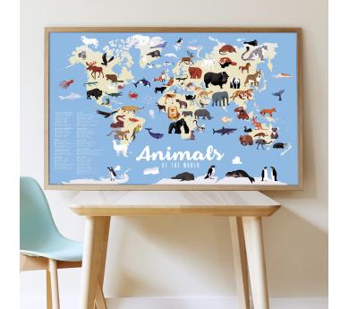 Animales del mundo, gran poster con 67 pegatinas