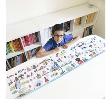 Historia de la humanidad, poster panorámico con 66 pegatinas