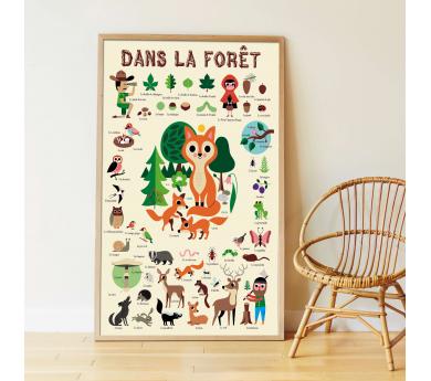 Al bosc, gran póster amb 60 adhesius