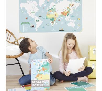 Mapamundi, gran puzle con 1600 pegatinas