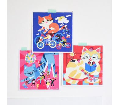 "3 puzles de pegatinas ""Gatos divertidos"""