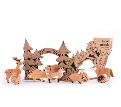 10 animales del bosque de madera