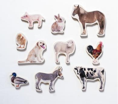 10 Animales DE LA GRANJA magnéticos y de madera