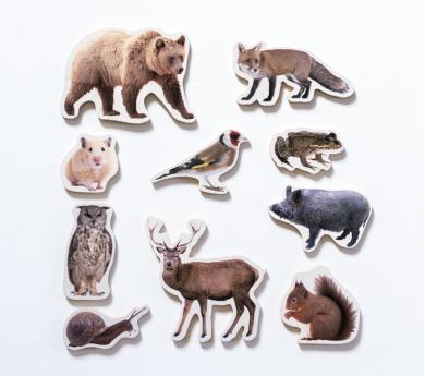 10 Animales DEL BOSQUE magnéticos y de madera