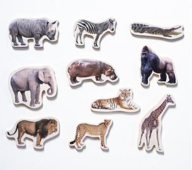 10 Animals SALVATGES magnètics i de fusta