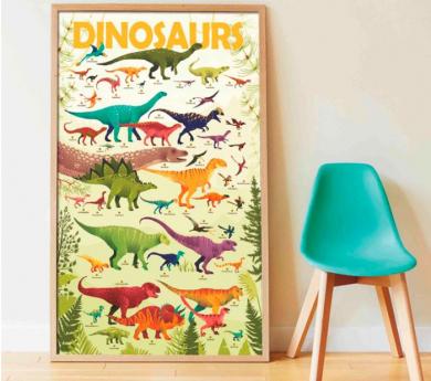 Dinosaurios, gran poster con 32 pegatinas