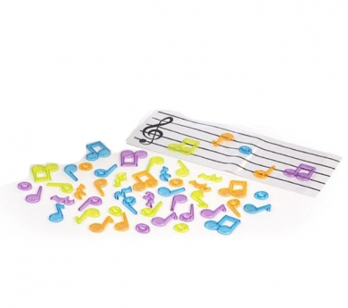 Notes musicals i pentagrama translúcids
