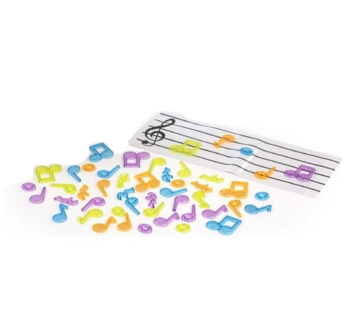 Notas musicales y pentagrama translúcidos