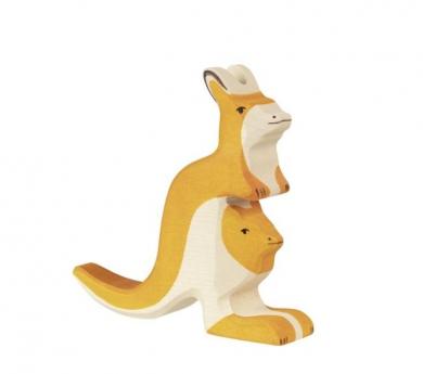 Figura de madera Holztiger - Canguro con cría