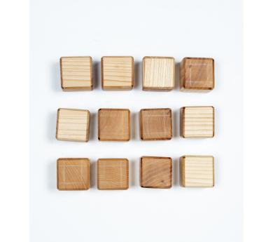 12 Cubos de madera natural de tilo