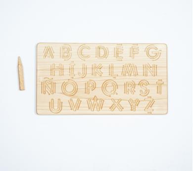 Alfabet en castellano amb fletxes de traçat