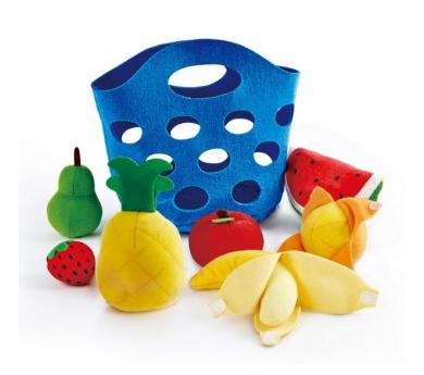 Cesta con frutas de fieltro