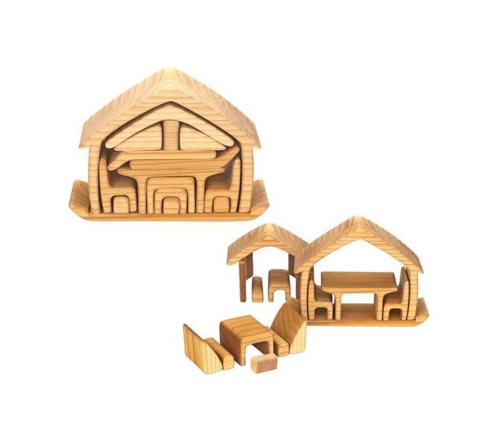 Casita de madera compacta