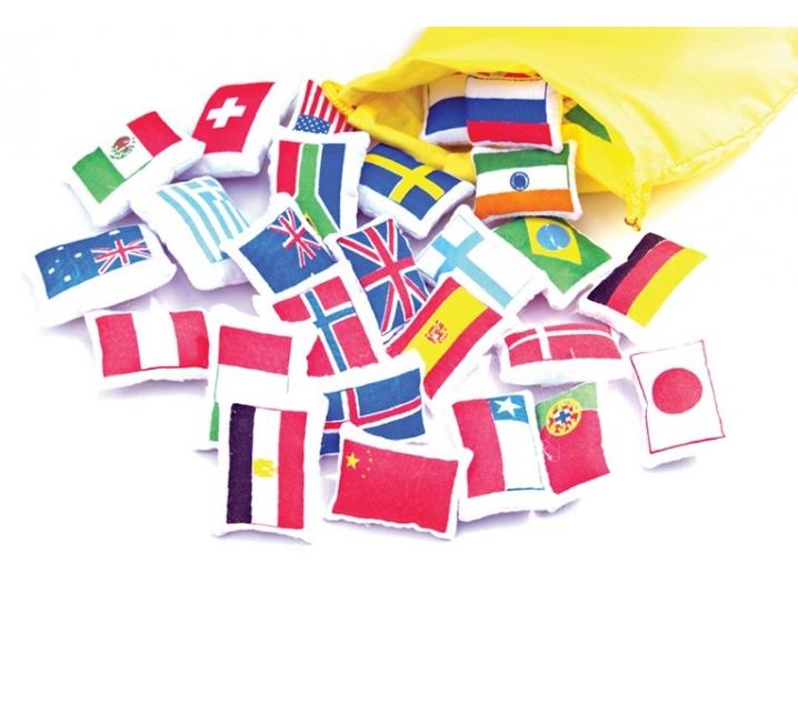 Banderas del mundo de tela