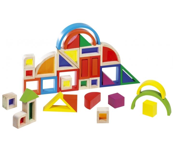 Piezas de construcción con ventanas de colores