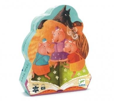 Puzzle silueta los tres cerditos