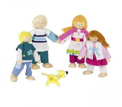 Familia de muñecos articulados con perro