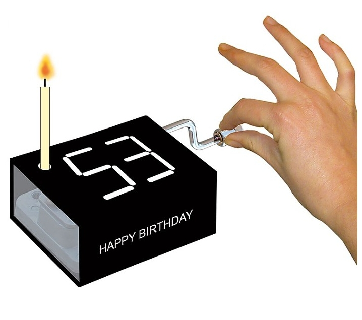 Capseta musical aniversari feliç amb espelma