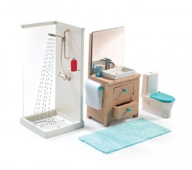 Cuarto de baño para casas de muñecas Djeco