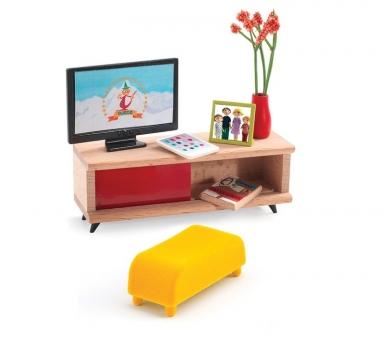Sala de estar con Tele para casita de muñecas Djeco