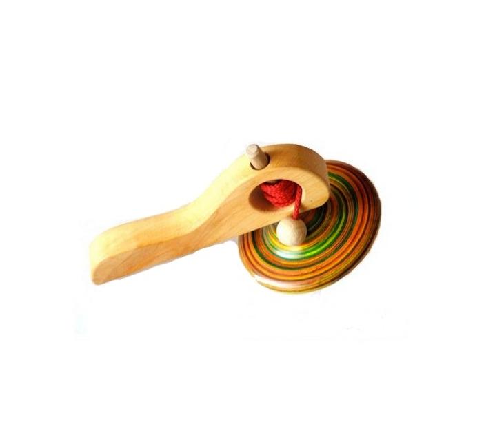 Peonza de Madera con mango lanzador