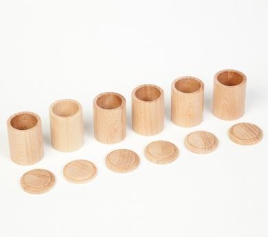 6 cubiletes de fusta amb tapa