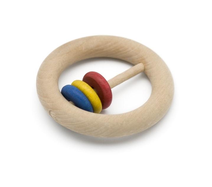 Sonajero de madera con anillas pequeñas