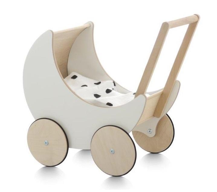 Cochecito de madera para muñecas white