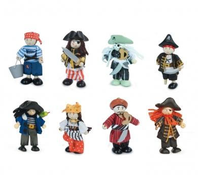 Piratas de madera articulados de juguete